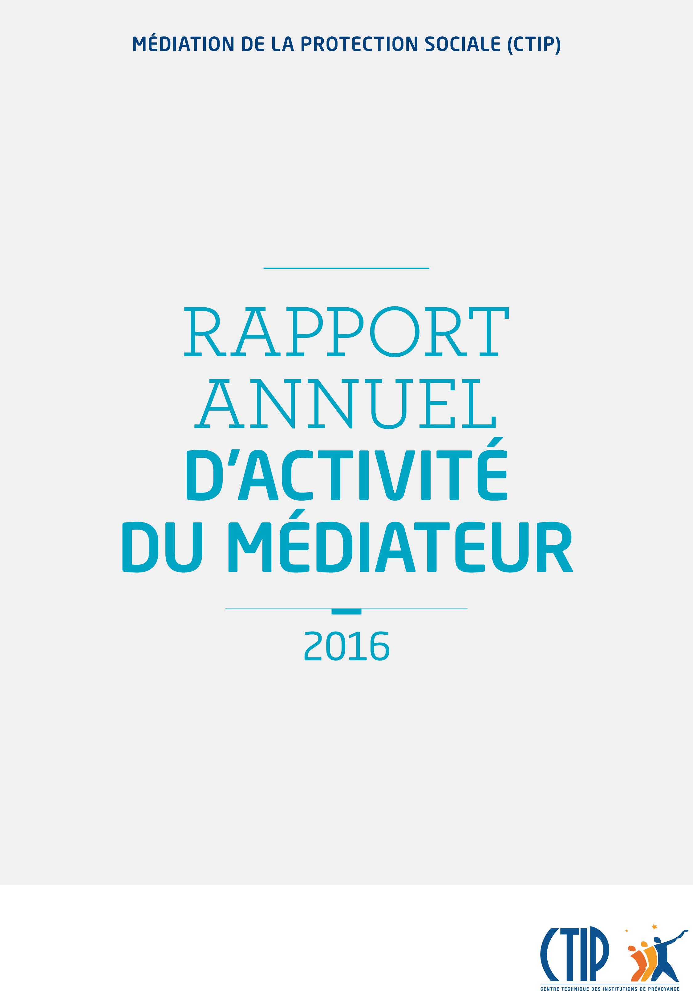 Rapport annuel d'activité du Médiateur 2016
