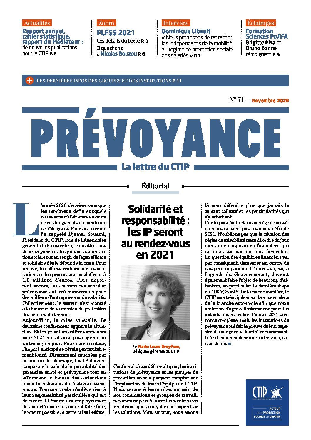 Prévoyance n°71 – Novembre 2020
